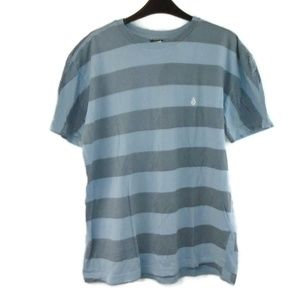 Volcom Shirt Blue Stripe Large Short Sleeve Mens